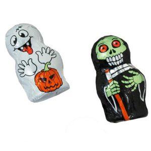 2 verschiedene gruselige Mini Geister aus Vollmilchschokolade, verpackt in Stanniolpapier.