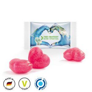 Herz Bonbons individuell bedruckt mit Logo als Werbeartikel