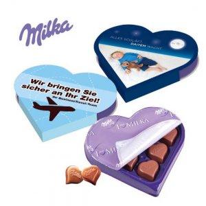 I love Milka Herzpackung individuell bedruckt und personalisiert mit Werbung als Werbegeschenk oder Give away.