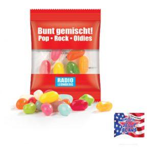 Jelly Beans American Style verpackt zu 10g bunt gemischt in Werbetüte mit Werbedruck nach Wunsch