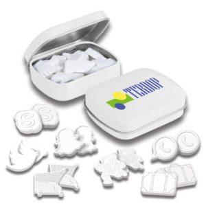 Die Klappdose mit Pfefferminz in Sonderform kann individuell bedruckt werden auf dem Deckel. Viele verschiedene Dosenfarben sind vorhanden. Pfefferminz in Sonderform nach Wunsch.