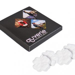 Das Kleeblatt Pfefferminz ist verpackt zu 4 Stück in einer Box. Die Box kann individuell nach Wunsch bedruckt werden.