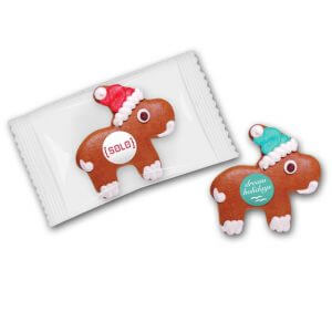 Lebkuchen-Elch mit Marzipanschild. Das Marzipanschild wird individuell bedruckt nach Wunsch. Einzeln verpackt im Flowpack.