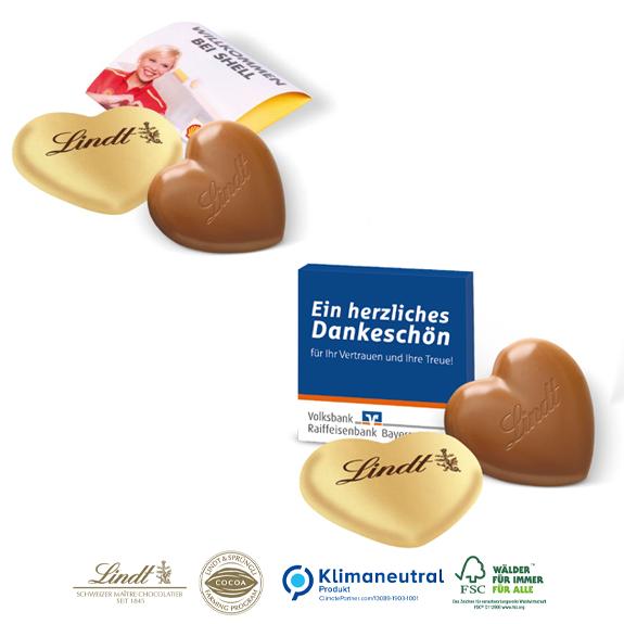 Lindt Herz 20 g in Werbebox mit Logo bedruckt als Werbegeschenk.
