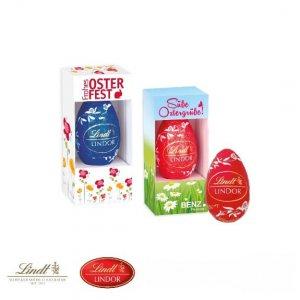 Lindt Osterei in Werbebox der Marke Lindor einzeln verpackt und individuell bedruckt.
