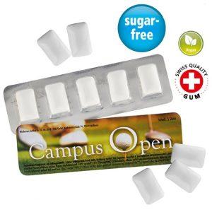 Der Logo Gum 5er besteht aus 5 zuckerfreien veganen Kaugummidragees im Blister. Das Blister kann individuell nach Wunsch bedruckt werden.