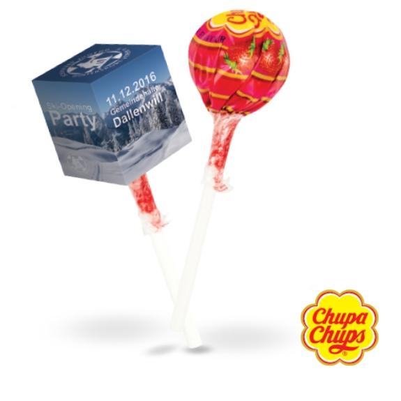 Lolly Box Chupa Chups mit Werbedruck. Werbe Würfel am Stiel mit Chupa Chups Lolly