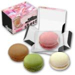 macarons bedruckt mit Logo und personalisiert mit Werbeslogan als Werbeartikel.