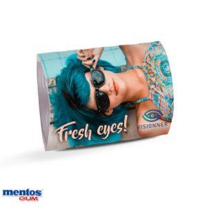 Mentos Sixpack im Werbeschuber mit Werbedruck. Sechs Mentos Kaugummi in Blisterverpackung mit individuell bedrucktem Schuber