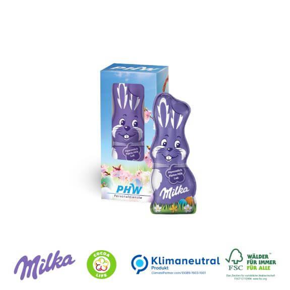 Milka Osterhase in der Werbekartonage individuell bedruckt mit Logo als Werbeartikel.