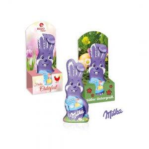 Milka Osterhase in einer Werbebox die individuell bedruckt wird. Milka Osterhase als Werbeartikel bedruckt.Schmunzelhase 15g