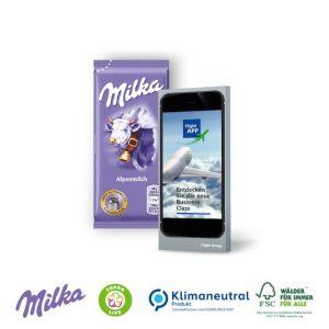Milka Schoko Tafel in Werbebox mit individuell Druck als Werbeartikel.