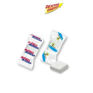 Mini Dextro Energy Flowpack mit einem Stück Dextro Energy verpackt in weißer oder transparenter Folie mit personalisiertem Werbedruck.