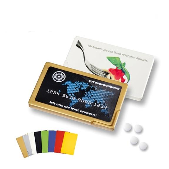 Mint Card mit Pfefferminzpastillen mit individuellem Werbedruck auf der Vorderseite. Gefüllt ist die Mint Card mit Pfefferminzpastillen in vegan. Die Mint Card gibt es in vielen verschiedenen Standardfarben.