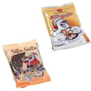 """Oblatenlebkuchen einzeln verpaackt in Folie mit Aufdruck """"Süße Grüße"""". Die Oblatenlebkuchen sind mit Schokolade überzogen oder mit Zuckerguß."""