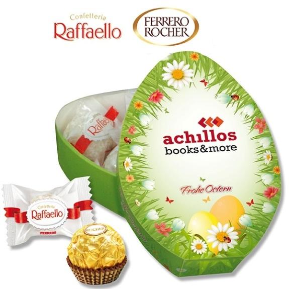 Osterei Geschenkbox Ferrero individuell bedruckt auf der Oberseite der Verpackung. Die Verpackung ist gefüll mit fünf Ferrero Rocher oder fünf Raffaello.