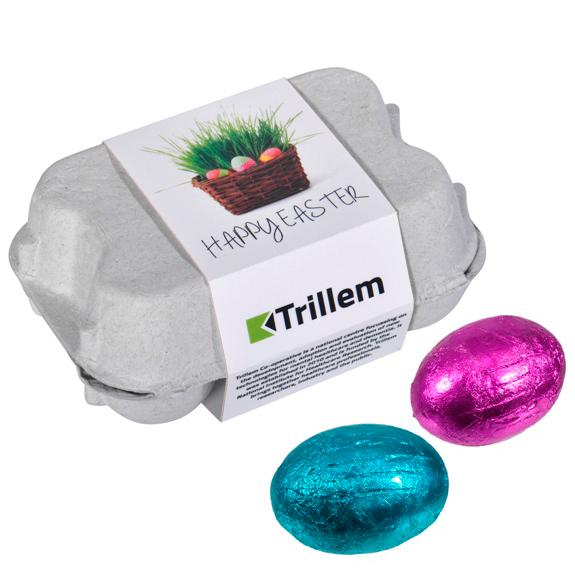 Das Ostereier Sixpack mit Banderole ist gefüllt mit 6 Schoko Ostereiern und die Banderole des Eierkartons wird individuell bedruckt.