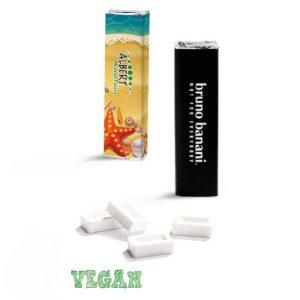 Pfefferminz Riegel mit 12 Pfefferminzstückchen. Verpack in Alupapier mit weißer Papierbanderole. Die Banderole kann individuell bedruckt werden nach Wunsch.