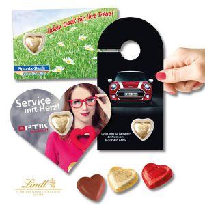 Premim Card Lindt-Herz mit individuellem Druck auf der Karte.