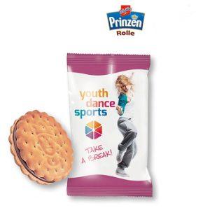 Prinzenrolle mini mit Werbedruck 1er direkt auf der Folie. Ein Stück Prinzenrolle mini verpackt in weißer oder transparenter Folie mit Werbedruck.