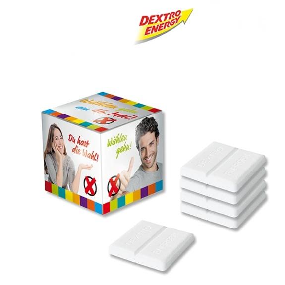 Der Promo Würfel Dextro Energy ist gefüllt mit 5 Stück Dextro Energy Traubenzucker. Der Werbe Würfel ist aus Karton und kann individuell personalisiert werden nach Wunsch.