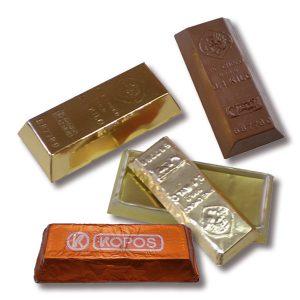 Schoko Goldbarren 30g + 50g + 100g mit individueller Prägung auf der Schokolade und auf der Box.