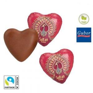 Schoko Herzen individuell bedruckt mit Logo auf der Stanniolfolie.