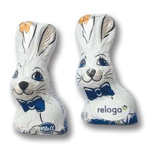 Schoko Langohrhase als Osterhase aus Schokolade mit Werbeetikett als Werbeartikel.