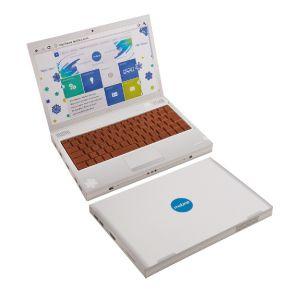 Der Schoko Laptop individuell ist ein Notebook mit Tastatur aus Schokolade und wird individuell bedruckt auf allen Flächen.