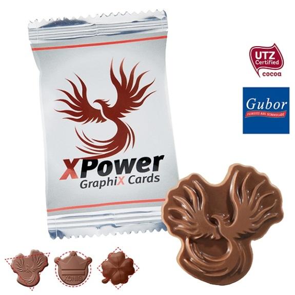 Schoko Logo Sonderform 8,5g mit individueller Prägung. Die Schokolade kann nach Wunsch geformt werden. Die Schokolade kann ebenfalls individuell geprägt werden. Die Folie wird individuell bedruckt.