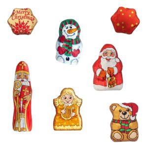 Schoko Mini Weihnachtsfiguren Stern, Weihnachtsmann, Schneemann, Bär, Engel, Bischoff als Give away.