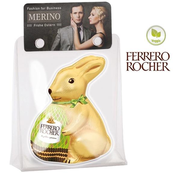Schoko Osterhase Ferrero Rocher 60g in Blisterverpackung mit individuell bedruckter Werbekarte.