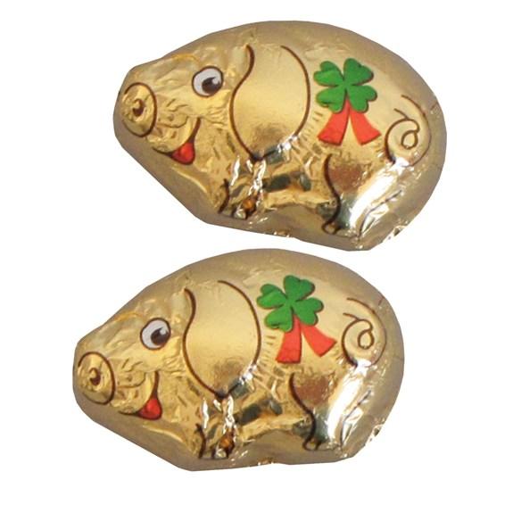 Goldenes Schoko Schweinchen aus Schokolade mit einem Werbeetikett auf der Rückseite. Das Etikett wird nach Wunsch bedruckt.