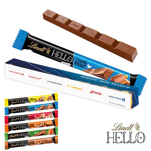 Schoko Stick Lindt Hello 39g mit verschiedenen Geschmackssorten. Einzeln verpackt in Werbekartonage mit individuellem Druck. Zartschmelzende Schokolade von Lindt Hello.