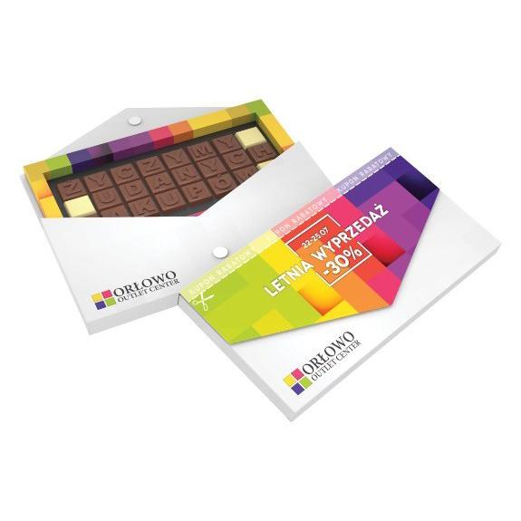 Schoko Telegramm mit 24 Schoko Stückchen mit individueller Prägung auf der Schokolade. Die Verpackung in Briefform kann individuell bedruckt werden.