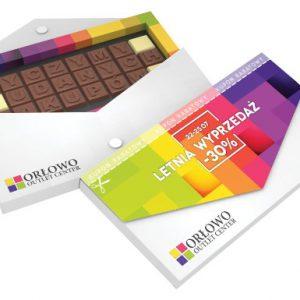 Das Schoko Telegramm 32er besteht aus 32 Schoko Zeichen individuell geprägt. Der Kartonbriefumschlag kann ebenfalls individuell bedruckt werden. 2 Geschmackssorten können gemischt werden.