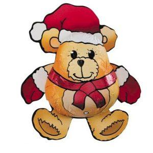 Schoko Weihnachtsbär aufklebt auf einem gestanzten bedruckten Karton, aus Fairtrade Vollmilchschokolade.
