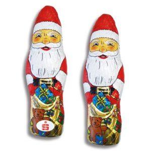 Der Schoko Weihnachtsmann 100g ist aus deutscher Vollmilchschokolade. Eine Werbeanbringung erfolgt durch ein Werbeetikett.
