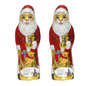 Der Schoko Weihnachtsmann 150g ist aus deutscher Fairtrade Schokolade. Der Weihnachtsmann wird individuell bedruckt auf einem Werbeetikett.
