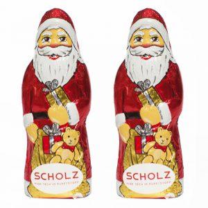 Der Schoko Weihnachtsmann ist 25 g und aus Fairtrade Schokolade. Der Schoko-Weihnachtsmann wird mit einem Werbeetikett versehen.