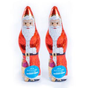 Schoko Weihnachtsmann mit Logo bedruckt als Werbeartikel.