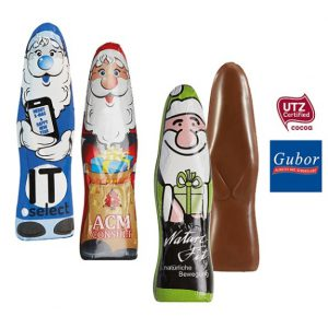 Der Schoko Weihnachtsmann ist aus Gubor Vollmilchschokolade. Die Stanniolfolie kann individuell nach Wunsch bedrduckt werden.