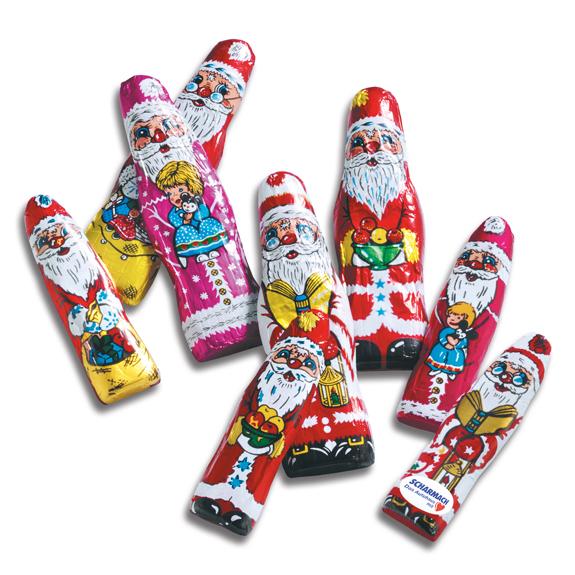 Schoko Weihnachtsmann flach mit Standarddruck und Werbeetikett auf der Vorderseite. Das Werbeetikett wird nach Wunsch bedruckt.