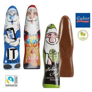 Kleiner flacher Schoko Weihnachtsmann von Gubor individuell bedruckt als Werbeartikel
