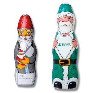 Schoko Weihnachtsmann individuell bedruckt auf der Folie mit Logo als Werbeartikel.