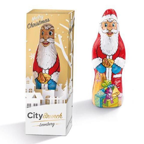 Der Schoko Weihnachtsmann ist 24g und von der Firma Friedel. Jeder Weihnachtsmann ist einzeln verpackt in einer Werbebox. Die Werbebox kann individuell bedruckt werden.