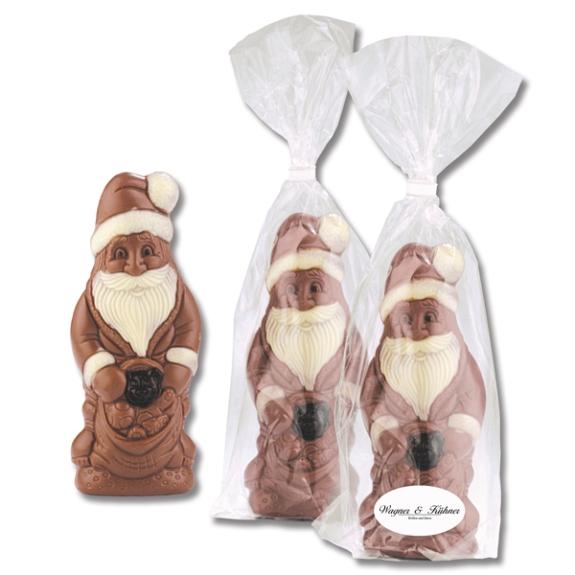 Schoko Confiserie Weihnachtsmann in Tüte mit Werbeetikett. Das Werbeetikett wird individuell nach Wunsch bedruckt.