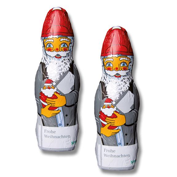 Schoko Weihnachtsmann individuell 60g 100g mit individuellem Werbedruck direkt auf der Stanniolfolie.