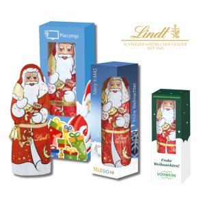 Der Schoko Weihnachtsmann Lindt ist verpackt in einer Werbebox aus Karton. Die Werbebox kann individuell bedruckt werden. Den Lindt Weihnachtsmann gibt es in 10g, 40g oder 70g.