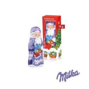 Milka Weihnachtsmann 15g in individuell bedruckter Werbebox.